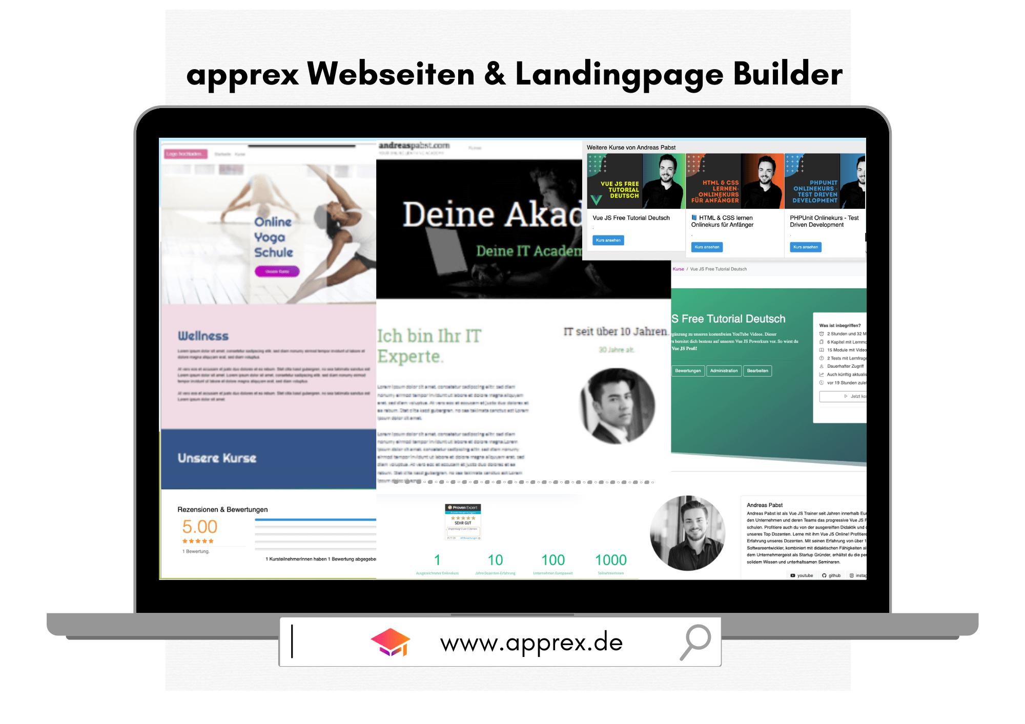 Erstelle dir individuelle Webseiten & Landingpages – mit dem apprex Seiten Builder